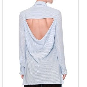 Valentino Blue Striped Open Draped-Back Shirt